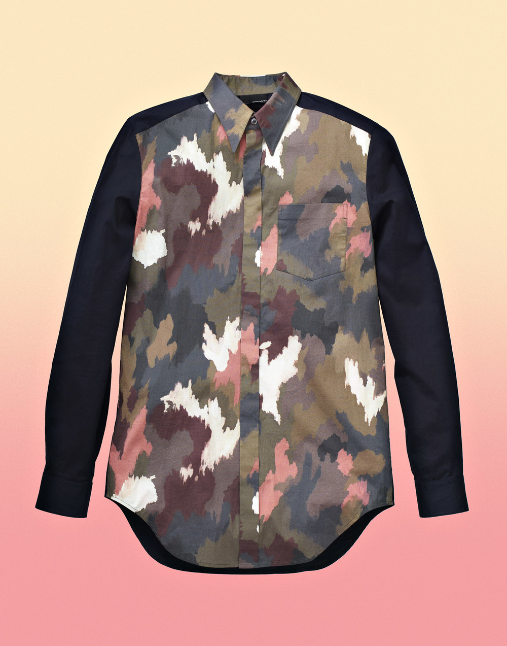 3.1 Phillip Lim Black and Camouflage Shirt