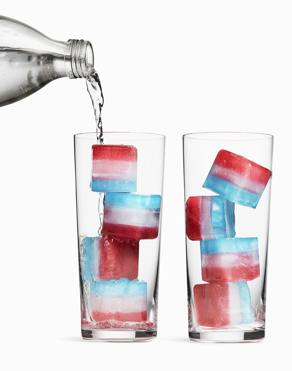 Red White and Blue Ice Cubes