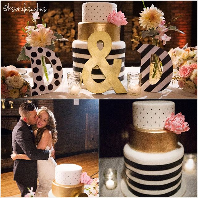 We love seeing our cakes in action! 😍 It was an honor to make a beautiful cake for such a beautiful couple!  Congrats to Danika & Doug! 📷: courtesy of @danikamarie0227 #stripesandpolkadots #sugarpeonies #weddingcakes #customcakes #nycweddings #ksprulescakes