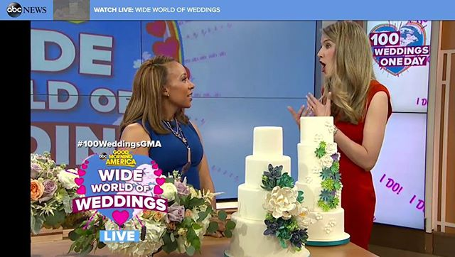 In case you missed it @ksprulescakes was just featured on @goodmorningamerica for @theknot #splurgevssteal tips for #weddingweek! 👍🏻 #GMA #weddingcake #NYC #ksprulescakes @theknotpro