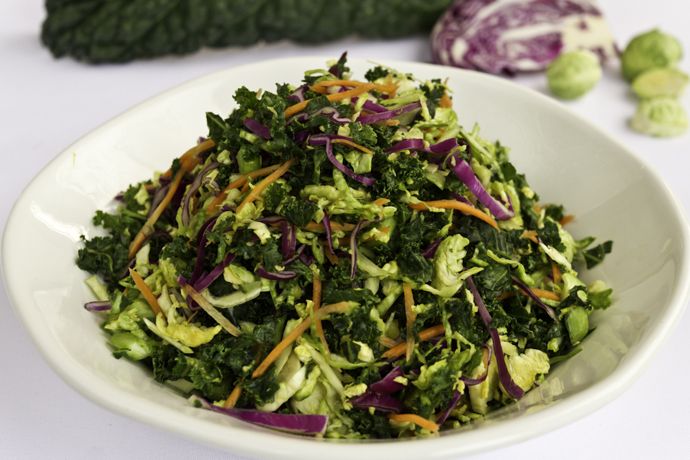 kale and brussels sprouts salad, an ornish family favorite.