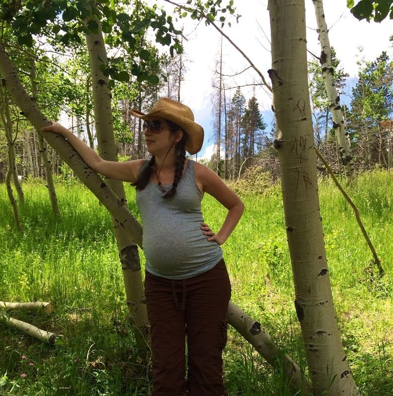 """M y time communing with nature. Here I was nine months pregnant hiking in Buckhorn Canyon, Colorado. ""   - Ariana"