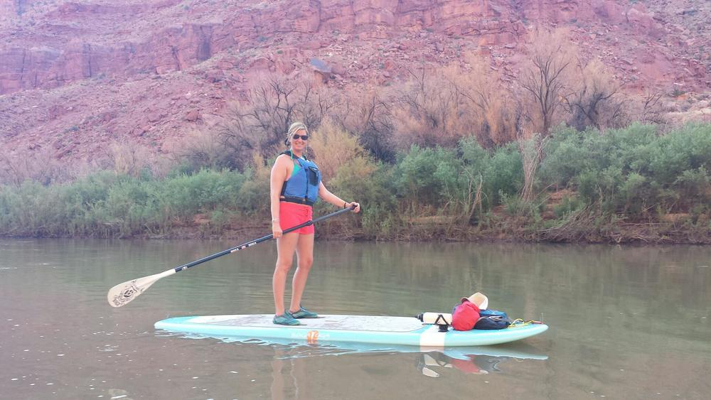 """This photo was taken this summer on the Colorado River in Utah…one of my bucket list items was to paddle a stretch of river on my board.  This was a huge accomplishment for me as it was taken only 2 months after my first brain surgery!""    -Angela"