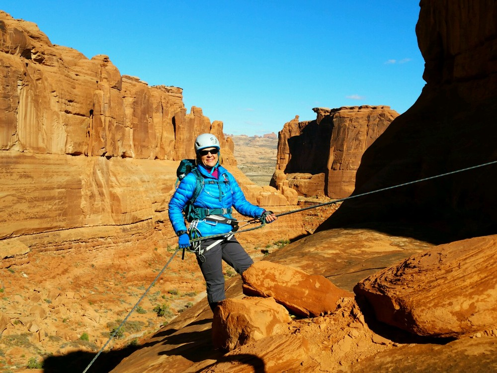 """This year I celebrated my 60th birthday. Last year I took up Canyoneering and Rock Climbing. Even though I was scared to death when I summitted my first BIG peak, I felt like I could do anything. It's now become an obsession. There's never a good reason not to follow your dreams.""  -Pam"