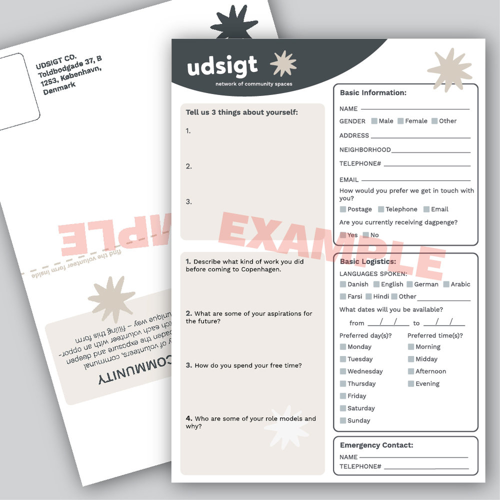 Prototype forms for participants to fill out