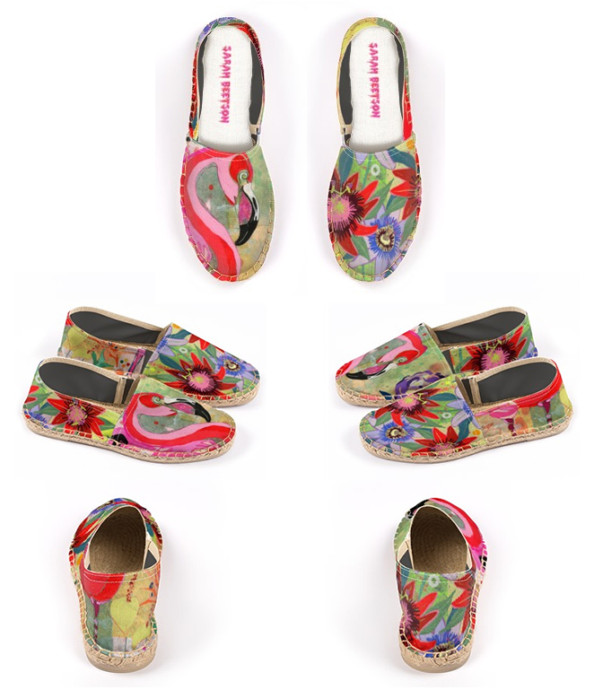 Flamingo and Passion Flower Print Espadrilles!