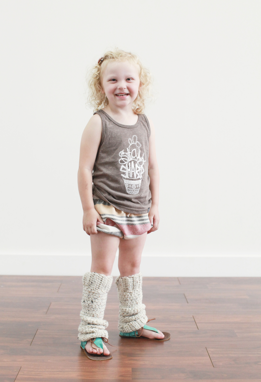 Shorties by The Mag Pie Co., legwarmers by The Crafted Co., sandals by Harper and Paisley