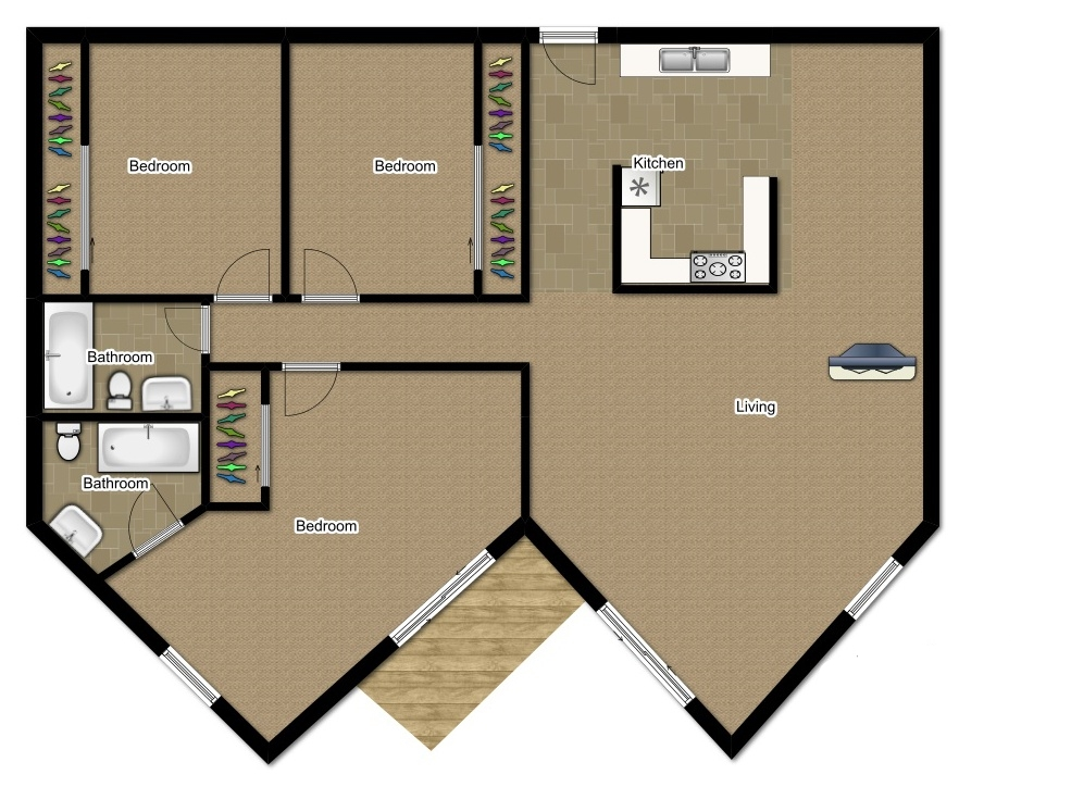 Three Bedroom 1500 Sqft
