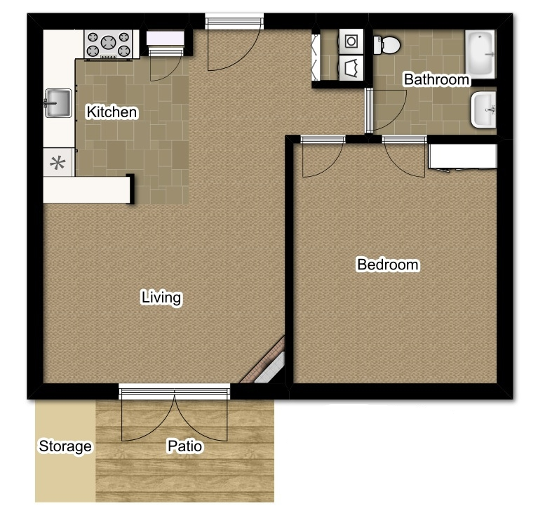 One Bedroom 784 Sqft