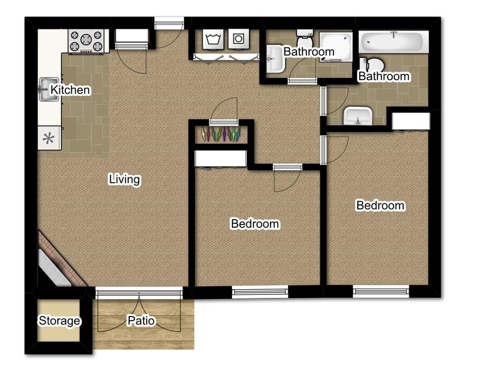 Two Bedroom 984 Sqft