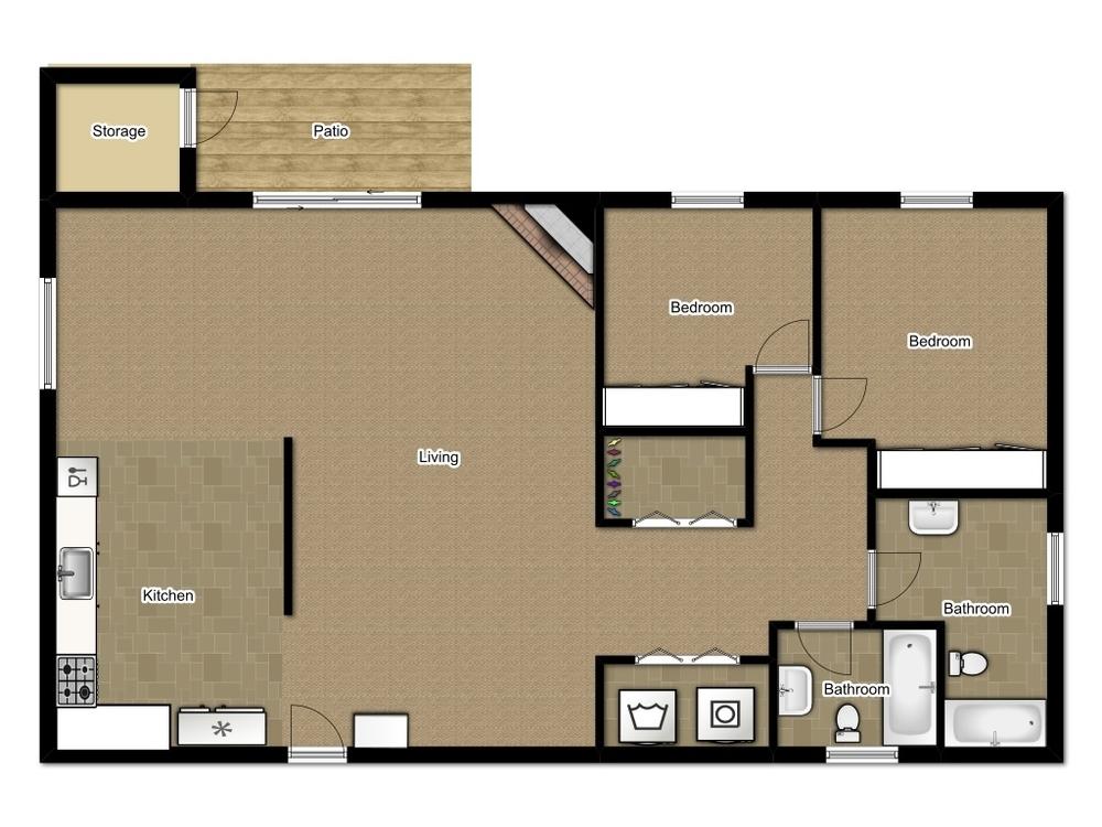 Two Bedroom 1109 Sqft