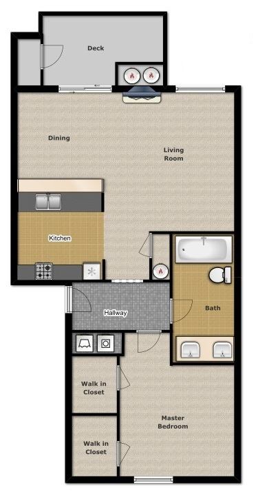 One Bedroom 700 Sqft
