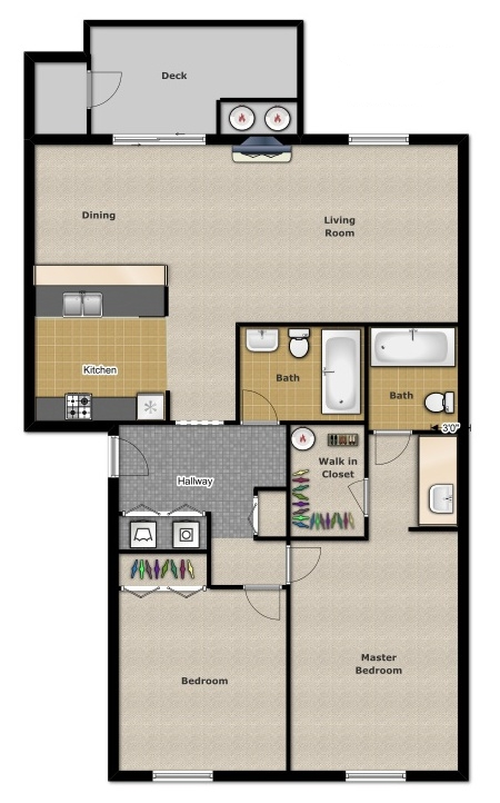 Two Bedroom 1,000 Sqft