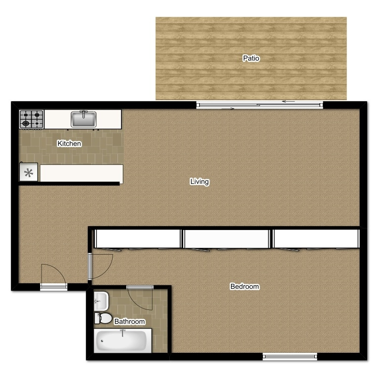 One Bedroom 516 Sqft