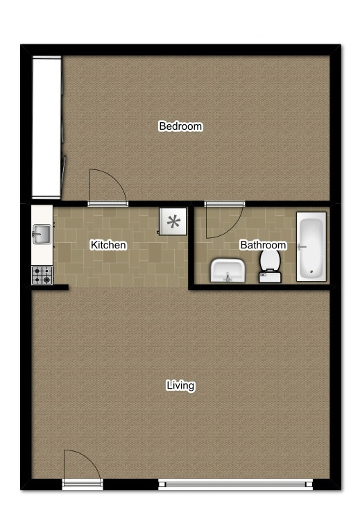 One Bedroom 480 Sqft