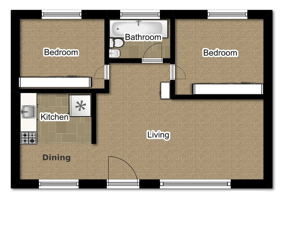 Two Bedroom 724 Sqft