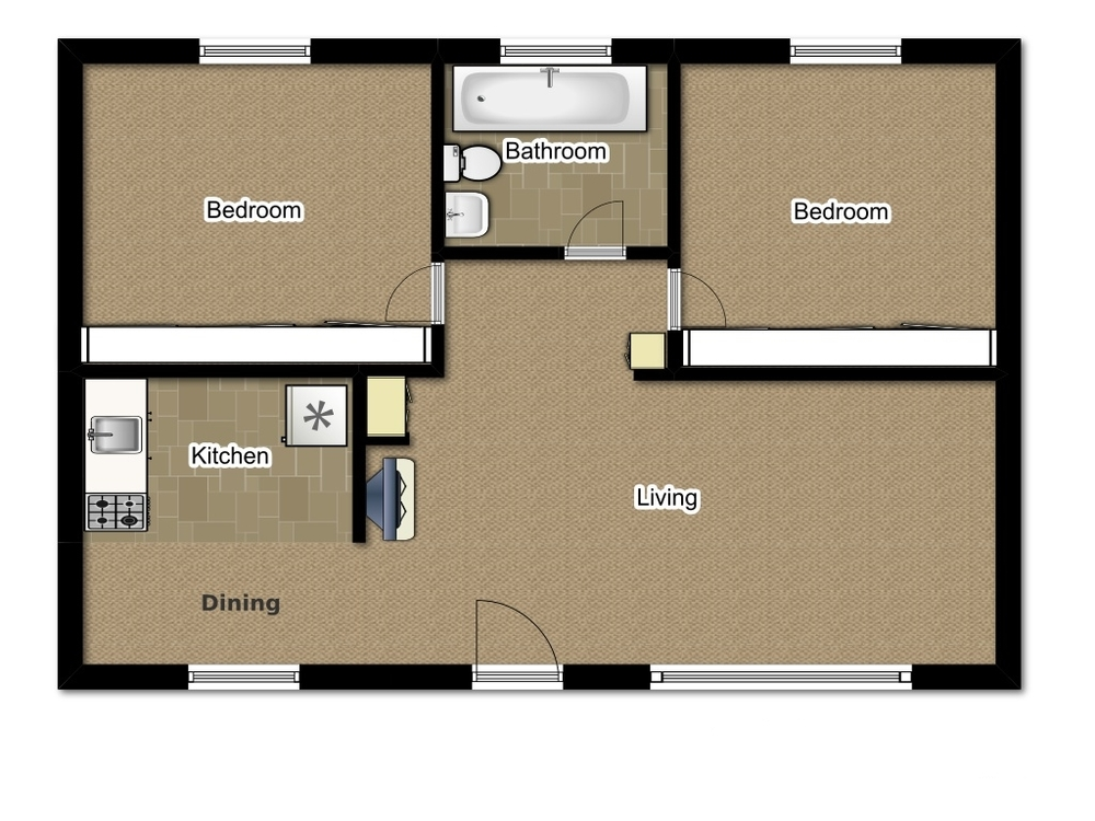Two Bedroom 784 Sqft