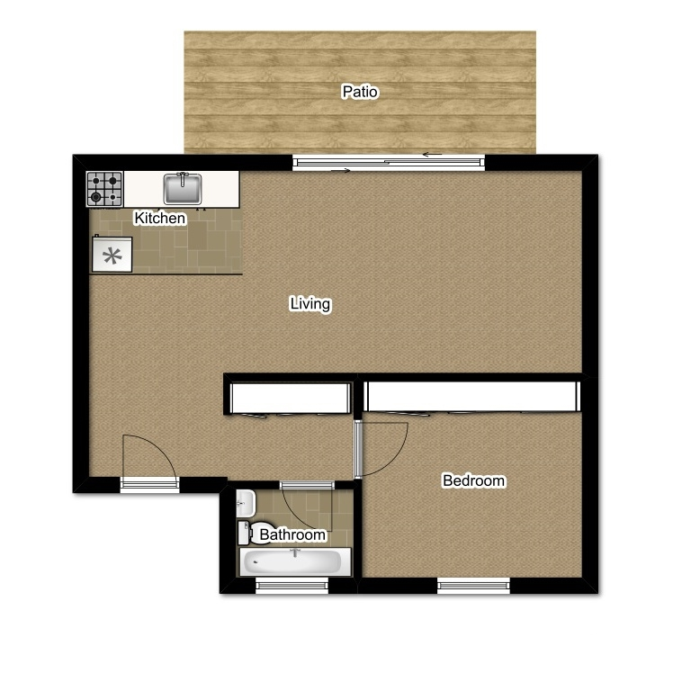 One Bedroom 518 Sqft