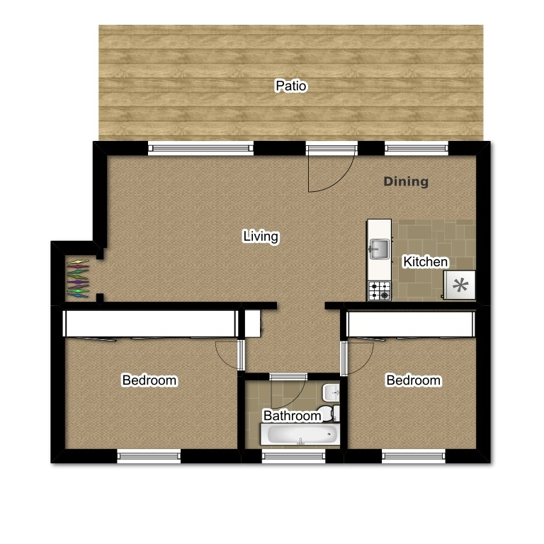 Two Bedroom 730 Sqft