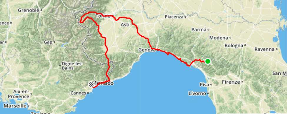 Piazza al Serchio -> Levanto and Rapallo -> Genova -> Torino by train, not bike (better map coming soon...)