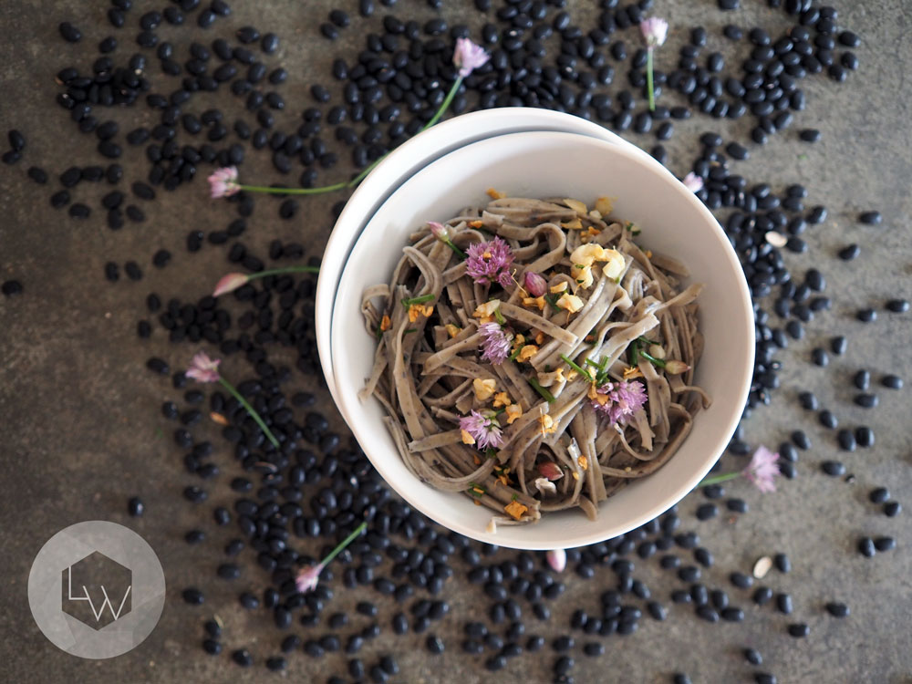 chive blossom pasta dressing via Lila Wolff