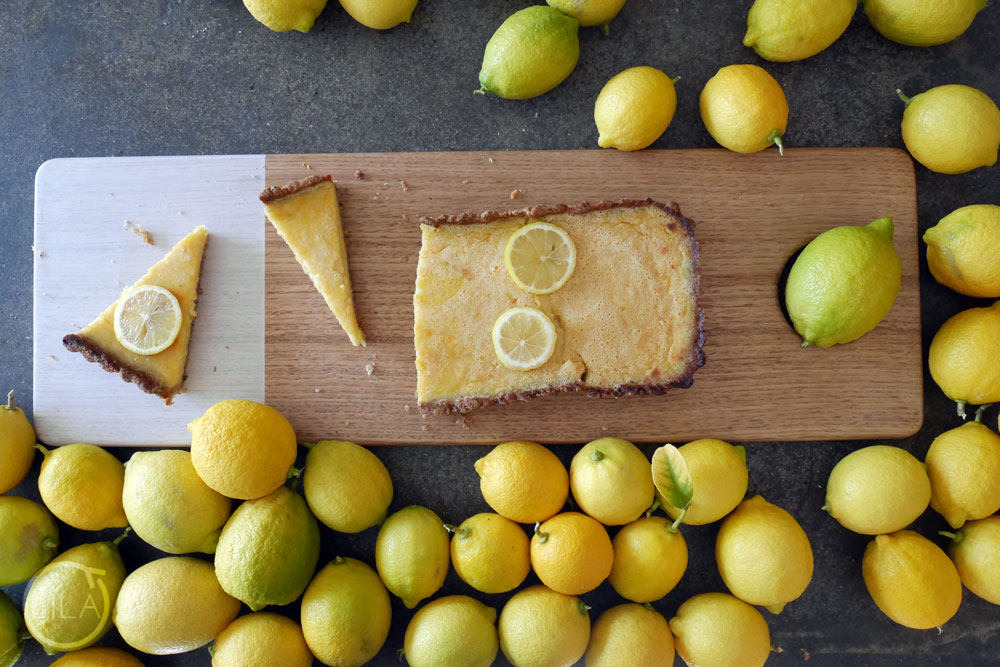 Hazelnut crusted dairy-free lemon tart
