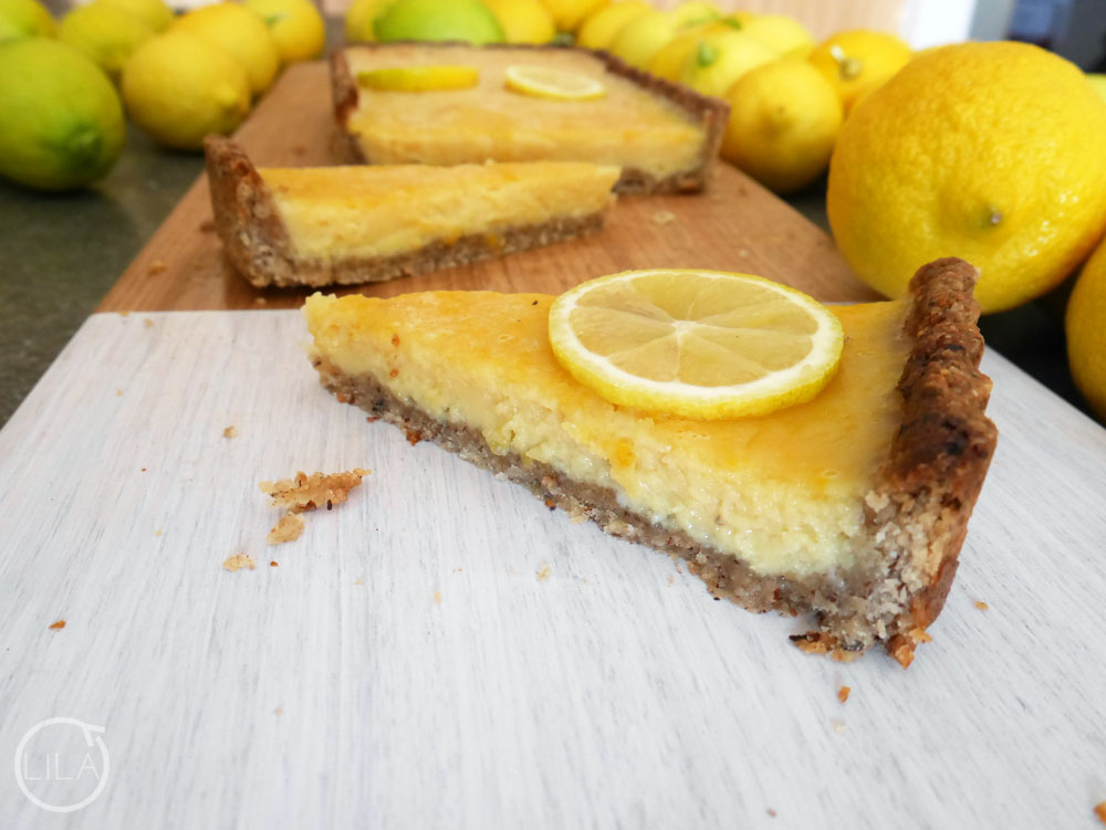 Hazelnut crusted lemon tart