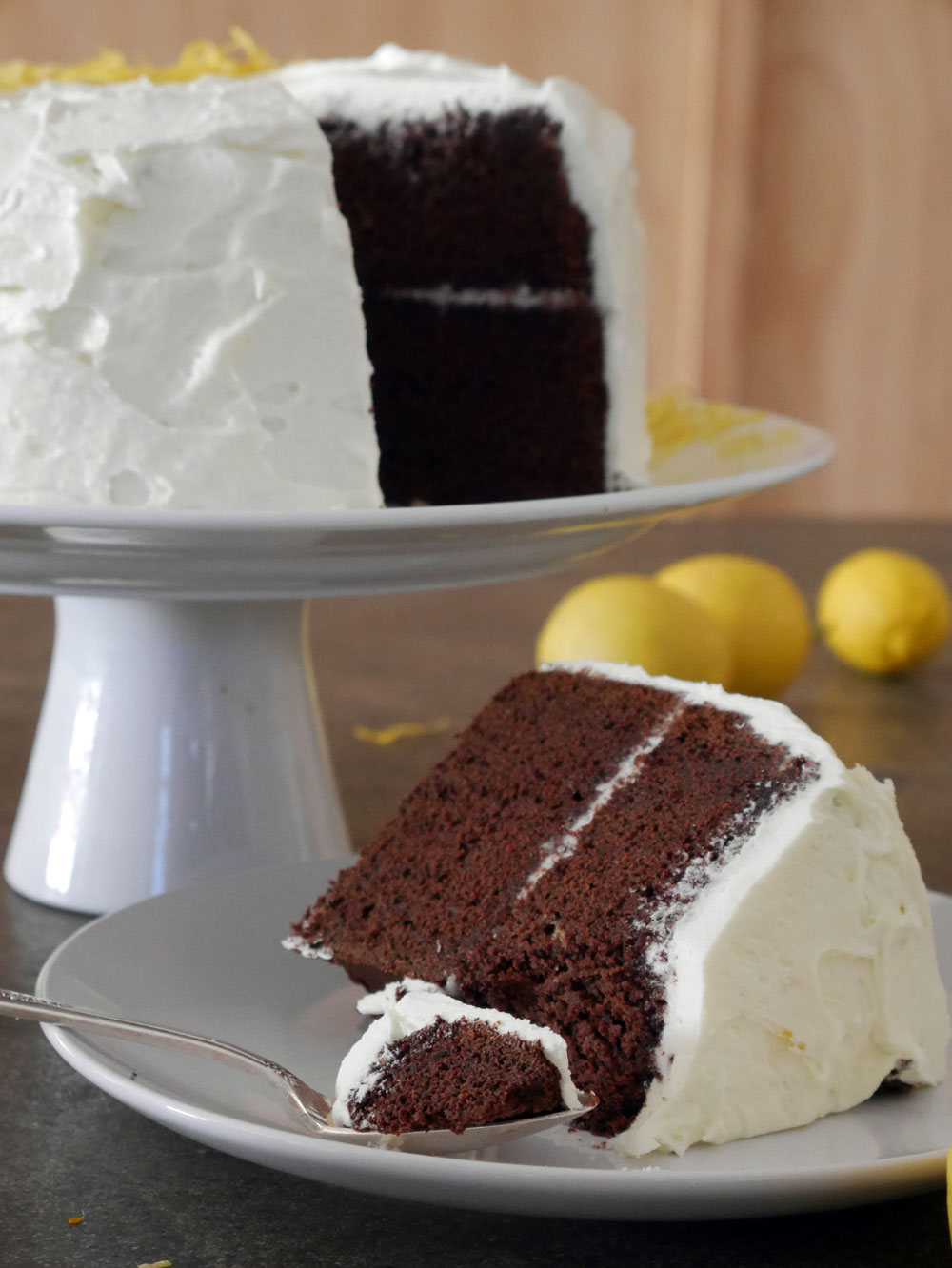Chocolate cake with lemon buttercream frosting by Lila Wolff