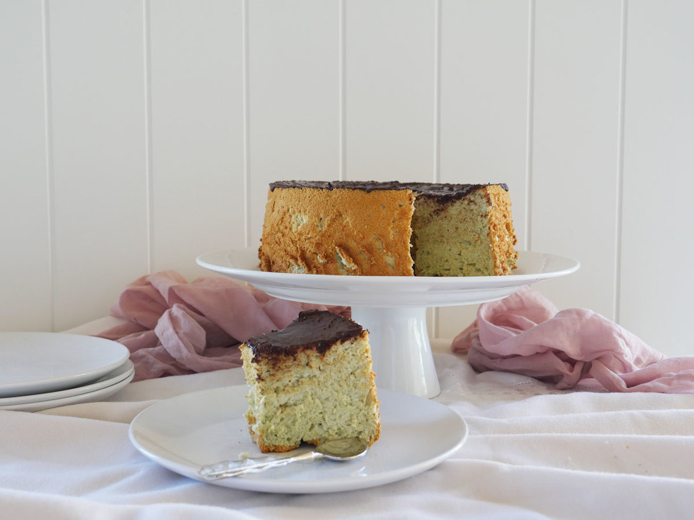 Matcha Angel Food Cake