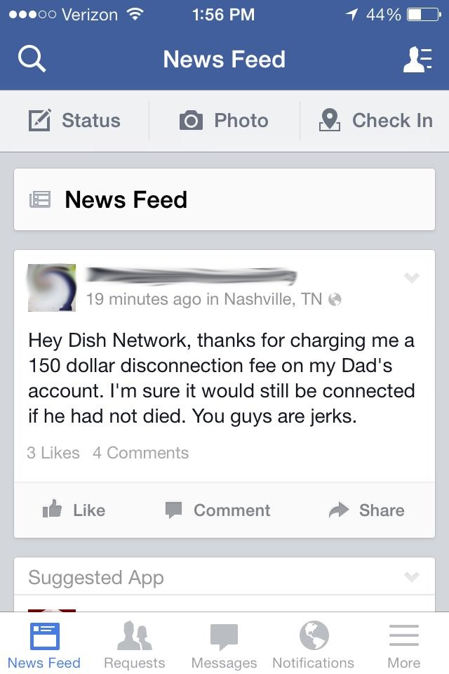 Dish Negative Facebook Status