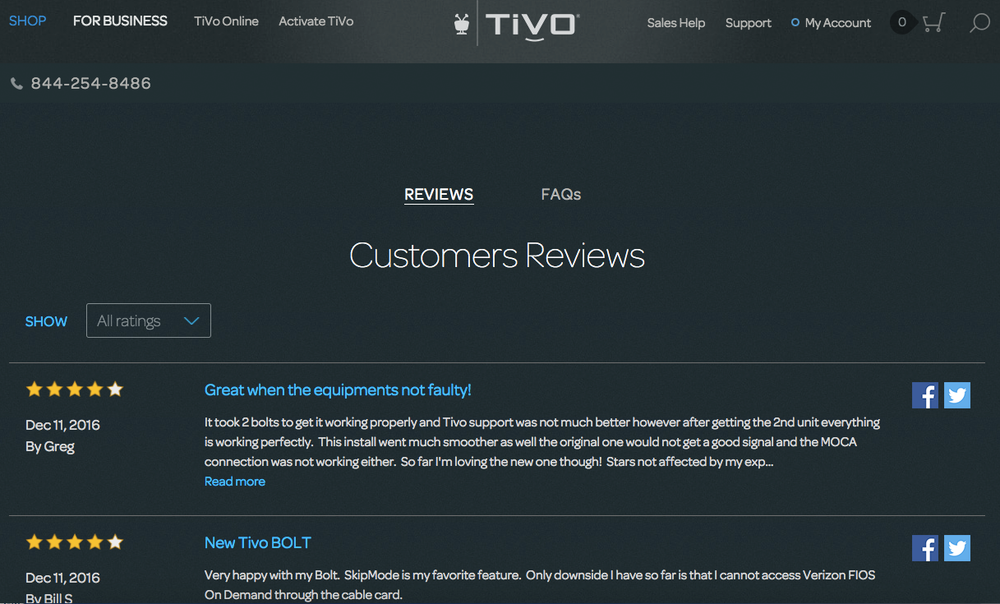 TiVo is leveraging reviews by customers on its website to drive conversions and sales.