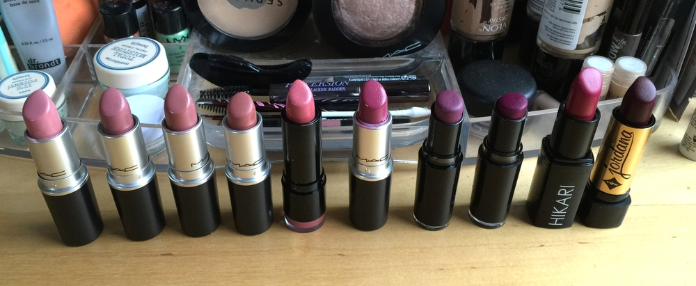 Shown from left to right are Mac creme cup, Mac Faux, Mac modesty, Mac velvet teddy, NYX Tea Rose, mac plumful, Wet and wild Ravin' Raisin, wet and wild sugarplum fairy, Hikari Cabernet, Jordana Eggplant.