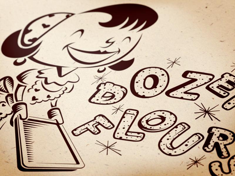 Dozen Flours main logo, 1-color