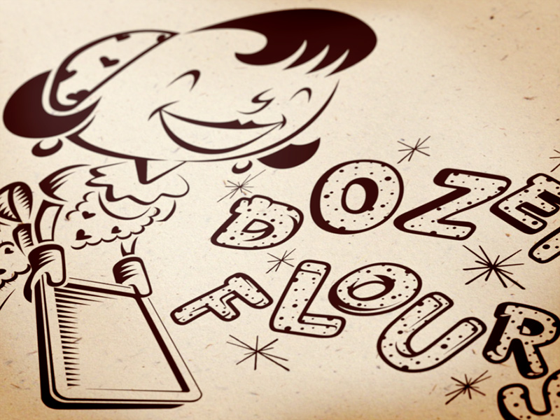 Dozen Flours main logo, 1-color.