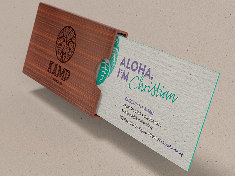 Business card and laser-etched Koa wood business card holder.