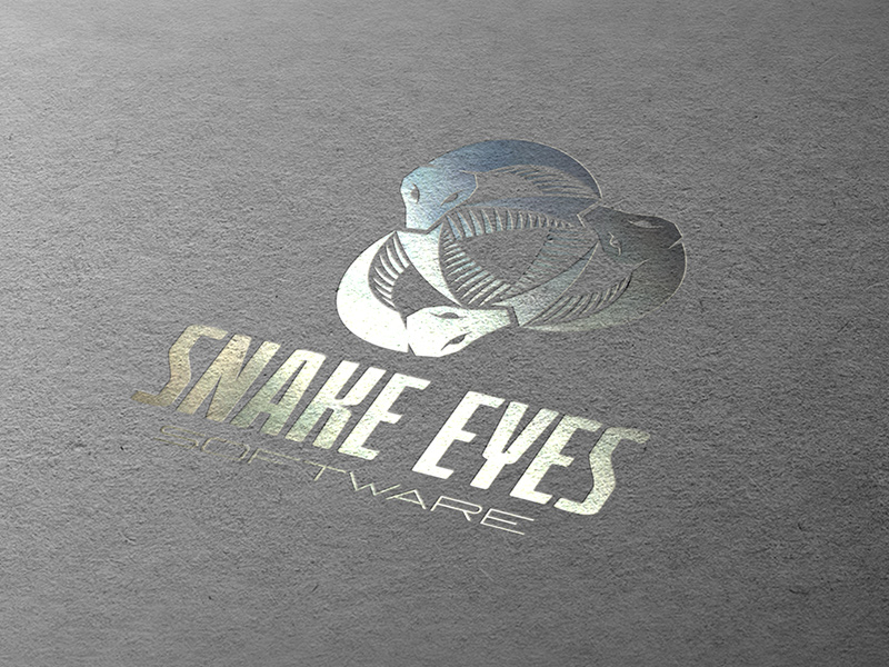 Snake Eyes Software logo - printing example