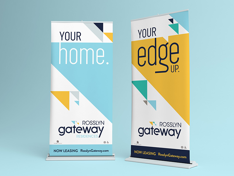 Leasing office pop-up banner displays.