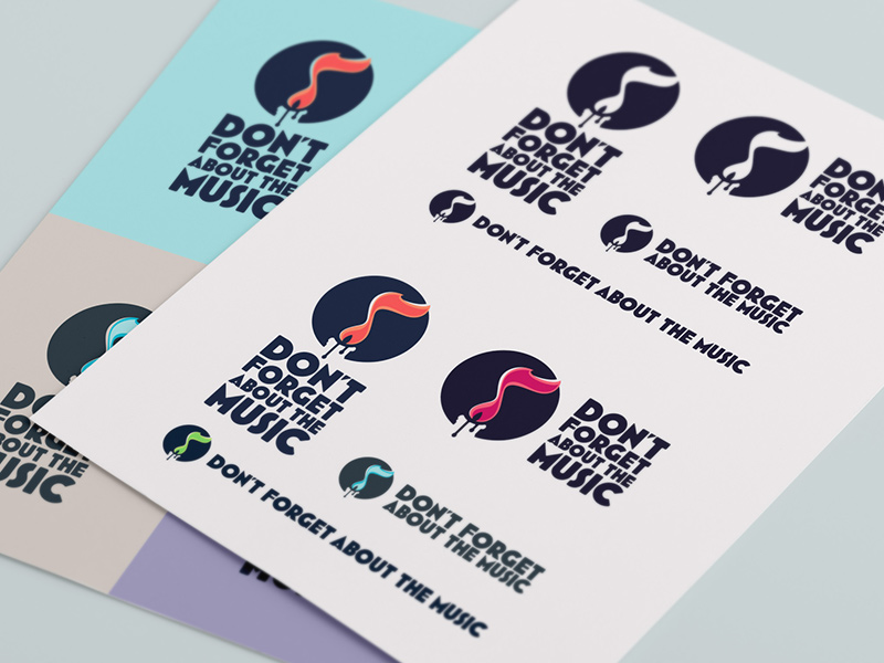 Flexibility of the Don't Forget About Music logo & color system