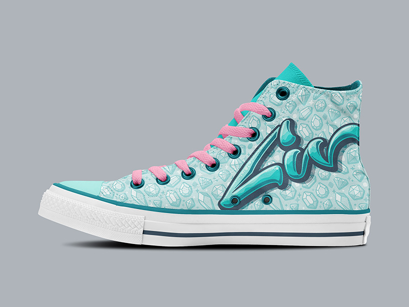 Liv-specific hi-top Chucks, side view.