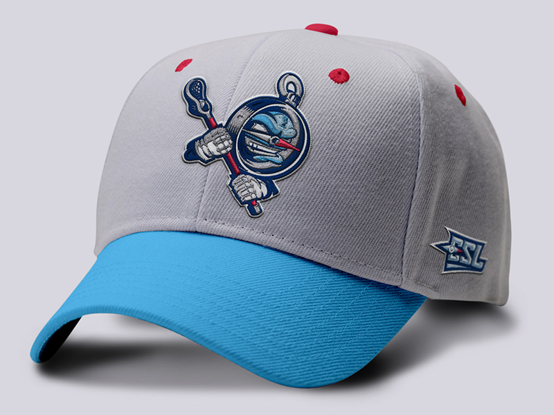 Player ball cap front with embroidered mascot and monogram patches