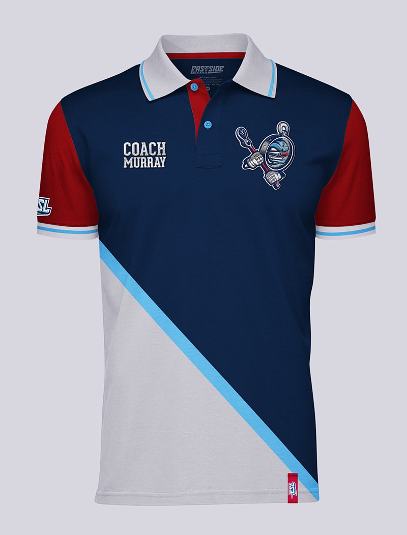 Coach's polo shirt with with embroidered patches, silk-screened sleeve and inner collar, and sewn garment tag