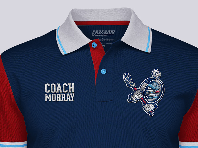 Coach's polo shirt detail, front