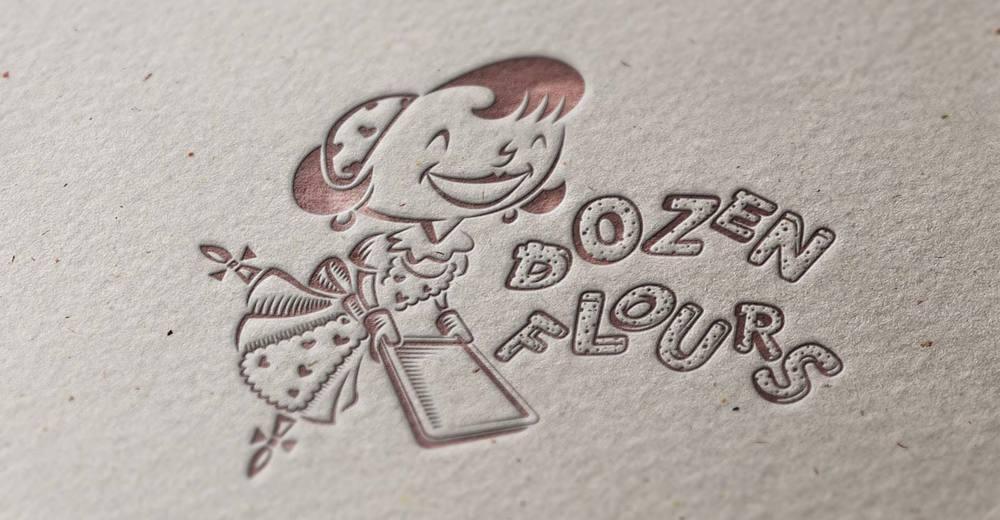 Dozen Flours main logo, letterpress printing example.