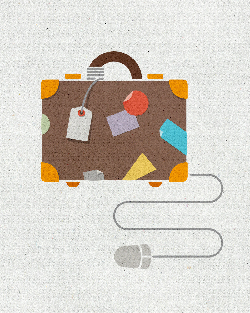 This illustration suggests that Inspirato makes booking business travel online easy, effortless, and enjoyable.