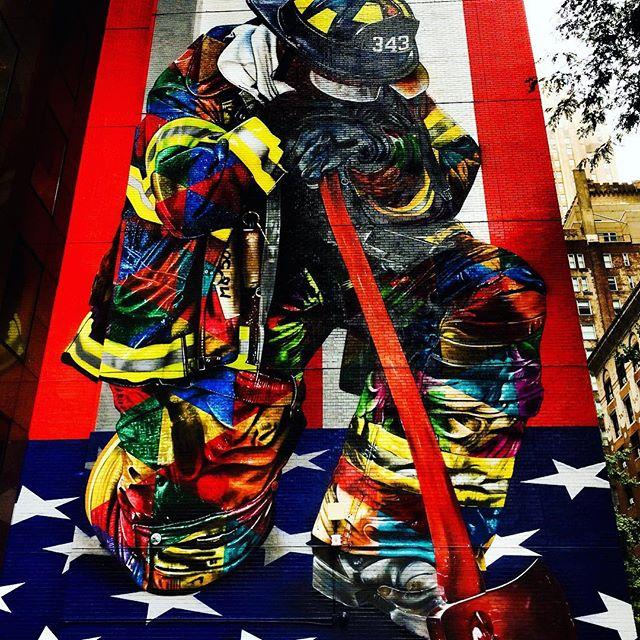 Brilliant work by Eduardo Kobra @kobrastreetart #fdny #neverforget #911 #nyc #iloveny #streetart #brilliant