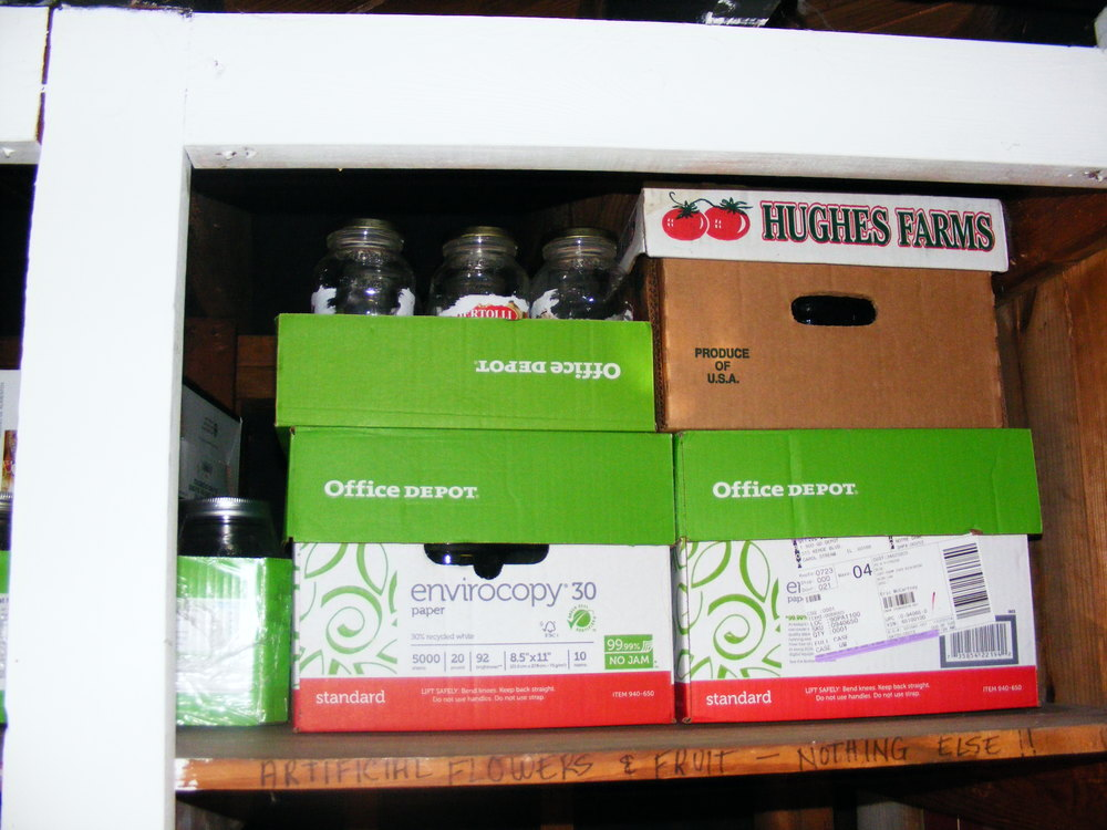And also, a lot of my empty canning jars went to the top shelf (inside the boxes).