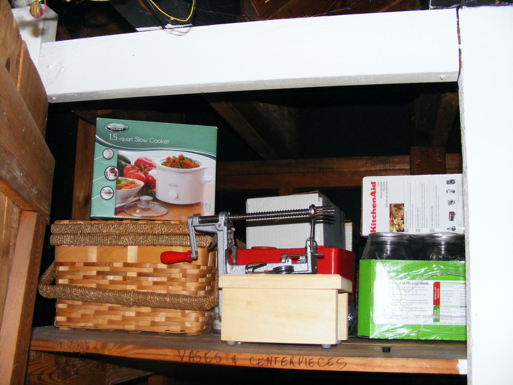 I moved all of the items that we only use seasonally up to the top shelf.