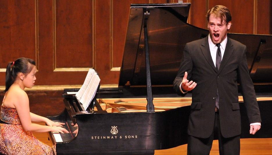 Performing in Jordan Hall with Canadian bass baritone, Nathan Keoughan. November 2011. Photo credit: Andrew Hurlbut