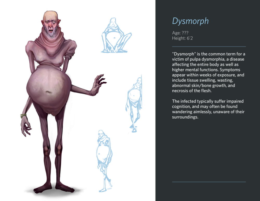 Eww, gross . Another assigned piece: we were given a phobia and instructed to create a monster based on it. I figured it'd be pretty terrible if people's fears and insecurities about their bodies were made physical, so here we are.