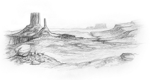 Desert doodle from class today. I'm wondering if using better paper would make my pencil work look something closer to decent after it's been scanned. Better paper has its own pitfalls, though, like being scary and unapproachable.